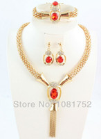 Wholesale Gold Plated Red Stone Vintage Choker Collar Necklace African Costume Jewelry Set Fashion Jewelry For Women