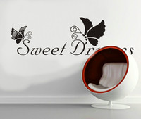 free shipping sweet dreams vinyl lettering sticker and butterflies removable wall quote decal