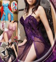 Wholesale 120CM Long Purple Blue Violet Black Plus Size S M L XL XXL XXXL XXXXL XL XL XL NEW Lingerie Nightgown Gown Babydoll Dress Sleepwear