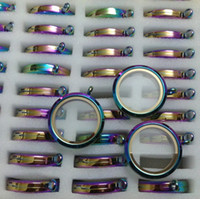 Lockets Stainless Steel Crystal, Rhinestone Factory Wholesale Brand OEM 30MM Round 316L Stainless Steel Rainbow Multicolor Real Glass Floating Charm Lockets Pendants,Screw Twist Open