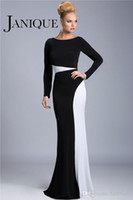 Wholesale 2014 Fashion Black and White Long Sleeves Mother Of The Bride Groom Dresses Scoop Neck Mermaid Floor Length Formal Evening Gowns