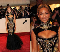 beyonce high - Custom made Hot Sexy Beyonce MET Gala Black And Gold Embroidery Beaded Mermaid Celebrity Dresses Evening Gowns formal dresses