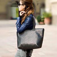 Wholesale S5Q Fashion Ladies Weaving Tote Bag Handbag Shoulder Bags Leatherette Satchel AAACYO