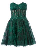 Cheap Zuhair Murad Custom Made Green Mini A Line Sweetheart Beads Lace Evening Prom Dresses Celebrity Red Carpet Dresses EM01153