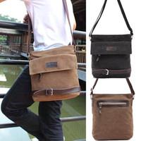 Wholesale S5Q Men s Vintage Canvas Briefcase Shoulder Messenger Working Hiking Bag Satchel AAACYY