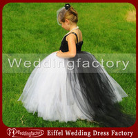 black and white flower girl dresses - Princess Black and White Flower Girl Dresses Lovely Girls Tulle Wedding Party Gown with Train
