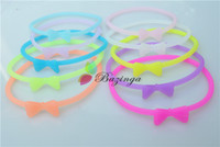 Wholesale Cute Fluorescence Color Rubber Hair Bands Bowknot Silicone Elastic Charm Bracelets Cheap Hair Jewelry Multicolor SZ268