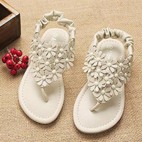 Wholesale New Arrivals Pairs Baby Sandals Girls Flower Shoes Children Summer Shoes Girls Party Footwear Pink Beige Baby Flower Sandals AL14040801