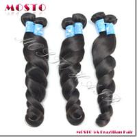Brazilian Hair Loose Wave Under $200 6A Brazilian virgin hair Brazilian hair weave Hair extensions 12-30 inches 3 bundles per lot Drop shipping MOSTO Hair Loose Wave