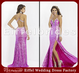 Wholesale 2014 Sparkly European Style Prom Dress with Sexy Crystal Spaghetti Strap and Glamorous Cross straps Backless High Slit Sequins Evening Gowns