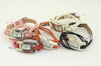 Wholesale 201404 Leather braided rope bracelet watch long strap bracelet watch retro fashion female color sent at random Q