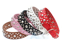 Wholesale New cm Width Round Nails Spiked Studded Pet Collar Leather Dog Collar Size S M L D19