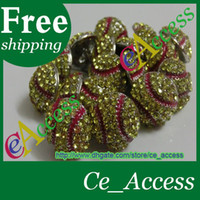 Wholesale fee usa softball yellow red stitching seam crystal red stitching earrings stud
