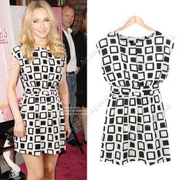 Wholesale Preppy Style Women Clothing Geometric Print Elastic Casual Chiffon Tunic Party Mini Dress SV000471