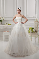 indian wedding dresses - Ivory Strapless Tulle Designer Wedding Dresses Appliqué Indian Wedding Gown