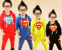Wholesale Retail one set spring new design boys cartoon long sleeve hoodies pants set kids children superman tracksuits