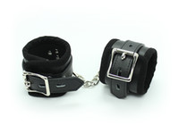 Wrist & Ankle Cuffs Unisex  Padded Black PU leather wrist and ankle cuffs Bondage gear sex toy adult novelty free shipping
