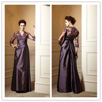 Reference Images V-Neck Taffeta LM Fashion V-Neck Sexy Appliqued Lace Illusion Jacket With 3 4Long Sleeve Maroon Taffeta Ruffle Pick-up A-Line Mother Dress Formal Gown 2014