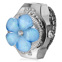 Wholesale 2014 New ArrivalFreeShipping Women s Blue Flower Shaped Cover Silver Alloy Quartz Ring Watch24012