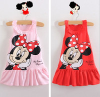 Wholesale 2014 Summer Cartoon Minnie Mouse Dots Bow Sleeveless Dress Children Clothing Kids Vest dresses Kid Child Cloth Tank Dressy Pink Red D2594