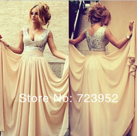 Wholesale Plus Size Fashion Sexy Sparking Sliver Sequins Beads Formal Evening Dresses Nude Chiffon V Neck A Line Draped Women Prom Party Gowns
