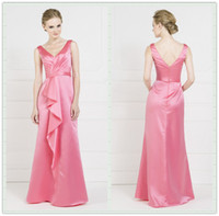 Wholesale 2014 Kelsey Rose Water Melon Pleats A Line Bridesmaid Dresses V Neck Sleeveless Zipper Back With Sash Floor Length Satin Prom Dress