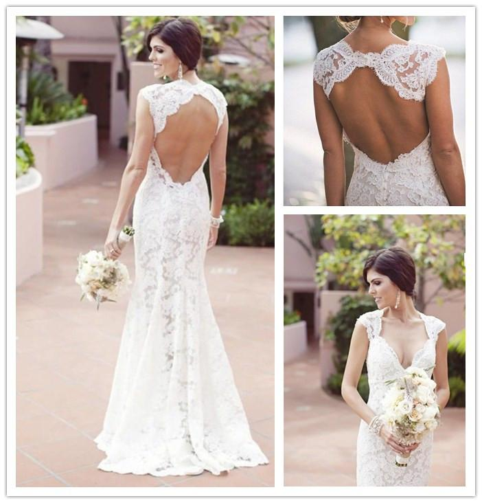 2014 Summer Lace Wedding Dresses By Monique Lhuilier V Neck Capped Sleeves Cut Out Backless