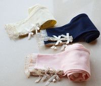 Wholesale Spring Baby Girls Leggings Children ClothingTights Girl Legging Pants Elastic Plain Cotton Lace Bowknot Edge Trousers Navy Beige Pink C2012