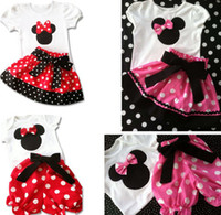 Girl Summer Short Girls 2pcs Suits = T shirt+Pants Skirt Bowknot 1-6Y Child Kids Cartoon Tee Shorts Skirts Outfits Sets Kid Minnie Mouse Pink Red D2595