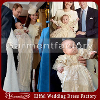Wholesale Prince George Christening Dresses Gowns New Arrival Top Quality Jewel Neckline Short Sleeve Champagne Lace Baby Boy s Suit