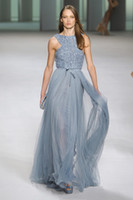 Scalloped turquoise beads - Elie Saab Crew Neck Blue Beads Sequins Tulle Floor Length Hot Sale Evening Dresses Made in China On Line Store Turquoise Blue Formal Gowns