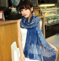 Wholesale Voile scarves fashion blue and white voile scarf women long shawls scarf Crimping scarves suit for all seasons