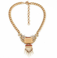 Wholesale Vintage necklace big gemstones pendant with rivets tassel Punk style fashion women short thick chain necklace high quality jewelry gift
