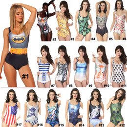 Wholesale New Women s Ladies One Piece Swimsuit Swimwear Monokini Girl Bathing Suits Cute Logo Brazilian Boho Batman New Designer Beachwear