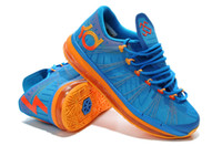 Hight Cut Men Summer High Quality Kevin Durant KD 6 VI Elite edition Basketball Shoes Flyknit and Flywire Mesh Upper Blue Orange