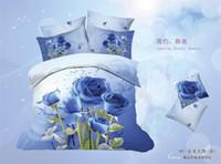 100% Cotton Woven Home Bule Rose Flowers Bed linen 3d Queen Size bed set 4pcs Floral bedding sets quilt duvet cover bedclothes bed sheet cotton home textile