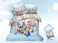 100% Cotton bed linen - Colorful butterfly flower Bed linen bedding set Queen Size unique quilt duvet cover bedclothes bed sheet cotton home textile