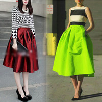 Wholesale 2014 NEW Vintage Retro Womens High Waist Elastic Flared Skater Pleated SKIRT