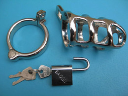 male chastity cages Male chastity device Zinc alloy plating chromium male chasity Cock Cage with Ring & Padlock sex products chasity devices