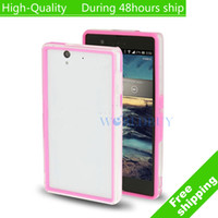 For Sony Ericsson Metal Yes High Quality TPU + Transparent Plastic Bumper Frame for Sony Xperia Z L36H C6603 Free Shipping UPS DHL EMS HKPAM CPAM VS-2