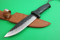 leather material - 2014 BUCK A08 Fixed blade knife Forging pattern steel Blade material outdoor knife knives with Leather sheath Factory price