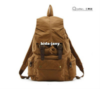 Wholesale Hot Fashion Canvas Cow Leather Outdoor Men s Women s Rucksack Backpack Travel Satchel Hiking Laptop Sports School Shoulder Bag
