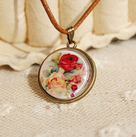 Wholesale Ethnic Rose Floral Necklace Leather Cord Necklace Vintage Handmade Jewelry New xl090