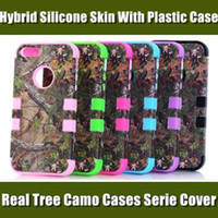 Wholesale Real Tree Camo Cases Serie For iphone4S S C Samsung Galaxy S4 S3 Waterproof Cell Phone Case Hybrid Silicone Skin With Plastic Shell
