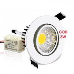 3W 5W 7W 10W COB Recessed LED Ceiling Spot Light Downlight Lampa AC 85-265V For Home Indoor Lighting Bulb Bright Chip with Driver DHL MOQ20