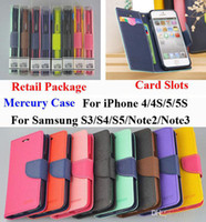 For Apple iPhone Leather For Christmas Mercury Wallet PU Flip Leather Case Card Slot Money Pocket For iPhone 4 4S 5 Samsung Galaxy S2 S3 S4 S5 i9600 Note 2 3 With Retail Package