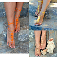 Wholesale 6 off pairs Tangerine Barefoot Sandals Crochet Sandals Sexy Foot Jewelry Toe Ring Yoga Shoes Foot Thongs Nude Shoes Lace Sandles