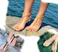 Wholesale Silver Barefoot Gladiator Sandals Crochet Sandals Legwear Sexy Foot wrap Toe Ring Yoga Leg Wrap Nude Shoes Lace Sandles pairs