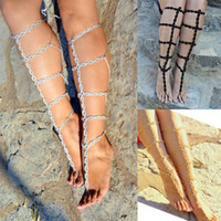 Wholesale 6 off pairs Gold Barefoot Gladiator Sandals Crochet Sandals Legwear Sexy Foot Anklet Toe Ring Yoga Foot Thongs Nude Shoes