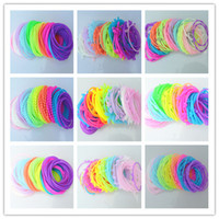 Wholesale Lovely Fluorescence Color Mixed Design Silicone Elastic Charm Bracelets Wristbands Rubber Hair Bands Cheap Hair Jewelry Multicolor SZ268